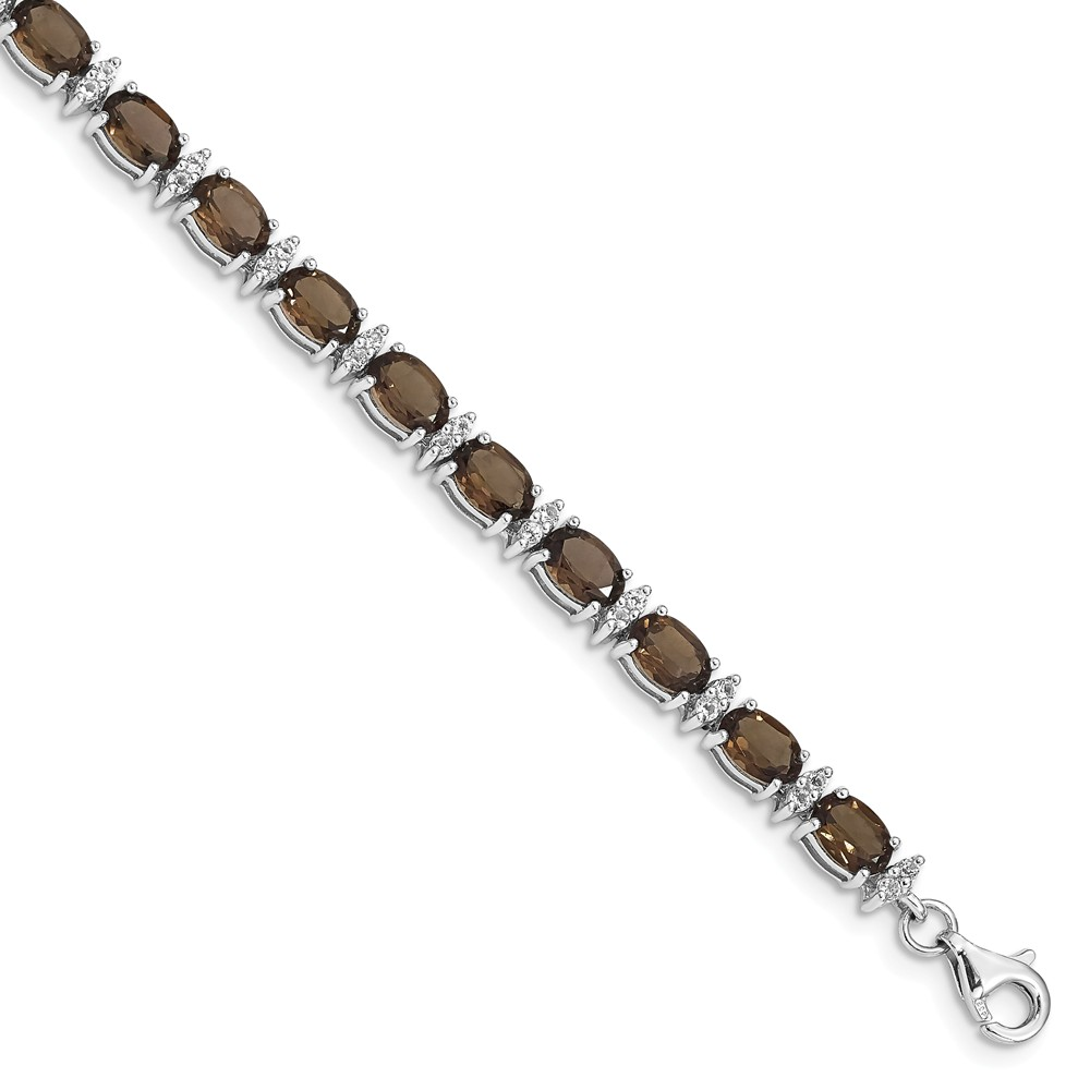"925 Sterling Silver Simulated Smoky Quartz and White Topaz Bracelet -7"" (7in x 4mm) by"