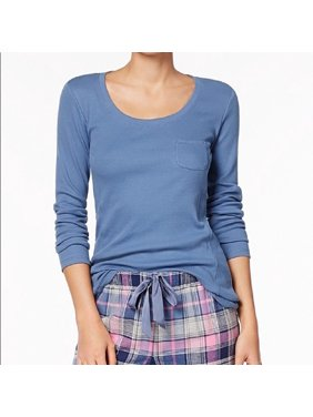 Jenni by Jennifer Moore Women's Ribbed Pajama Top Blue Skyline Size 2-Extra Large