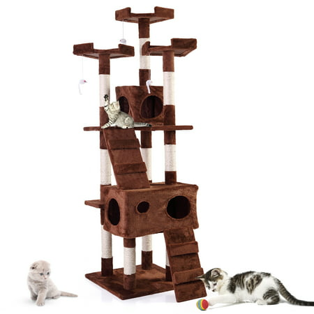 Lazymoon 67   Pet Cat Tree Medium Tower Condo Play House Scratch Post Toy Mouse Brown
