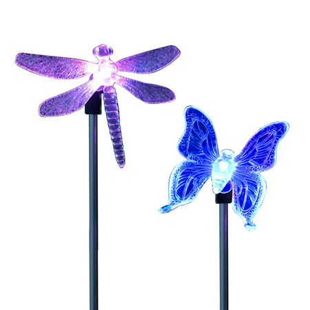 2 Pack LED Solar Garden Stake Light Multi Color-Changing Butterfly, Dragonfly Garden Decor Figurines Lights Outdoor Landscape Lighting for Path, Yard, Lawn, (Dragonfly Yard)