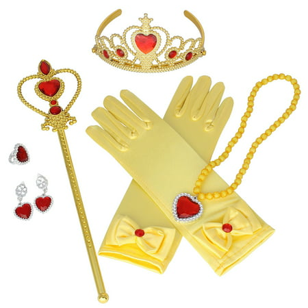 Aniwon 6PCS Princess Dress up Accessories Set Cute Princess Jewelry Crown Gloves Set, Halloween Christams Party Cosplay Costumes for Kids Girls - Cute Villain Costumes