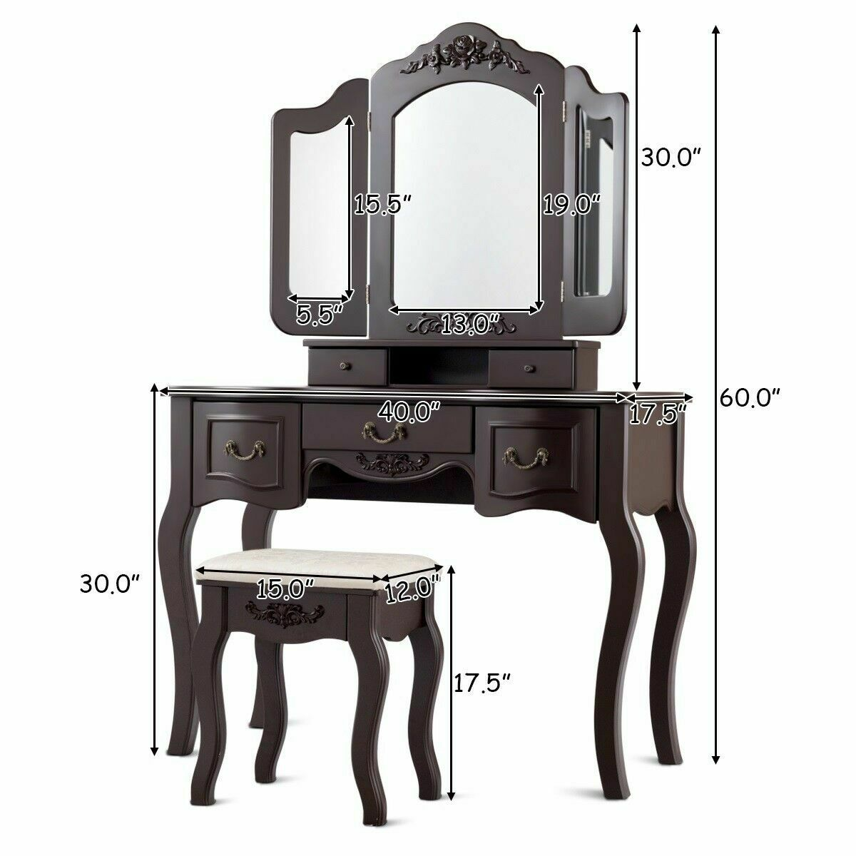 Costway Tri Folding Vintage Vanity Makeup Dressing Table Christmas Walmart Com Walmart Com