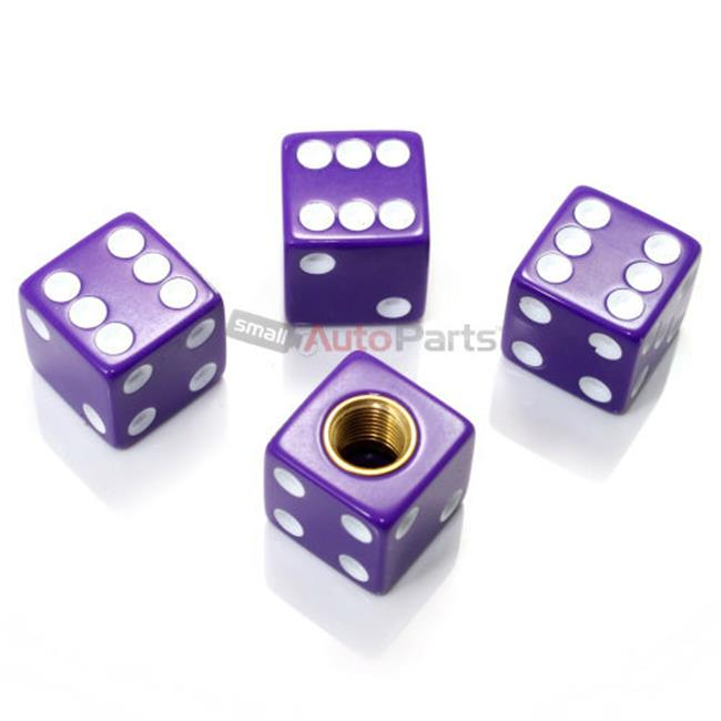 SmallAutoParts Purple Dice Valve Caps - Set Of 4