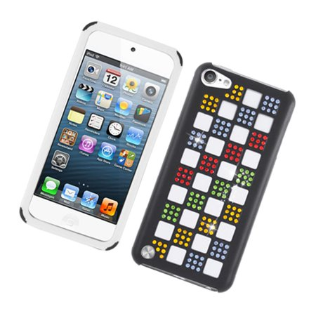 EagleCell Checker Rubber Dual Layer Hard Case with Diamond For Apple i-Pod  Touch 6th Gen 5th Gen iTouch 6G 5G - Black/Colorful
