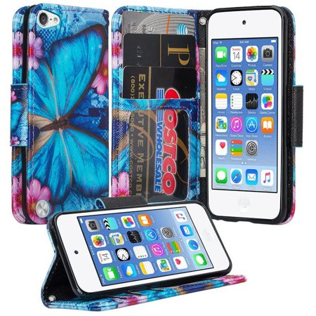 For Apple iPod Touch 6 / 7 / 5 /5th/6th/7th Edition Wallet Case, Slim Strap Flip Fold Leather Wallet Case with ID & Credit Card Slots - Blue Butterfly (Apple Ipod Strap)