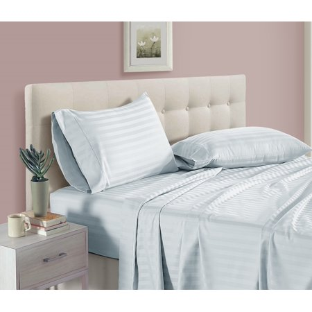 - 100% Egyptian Cotton 500 Thread Count Damask Stripe 4 piece Sheet Set , King - Sky
