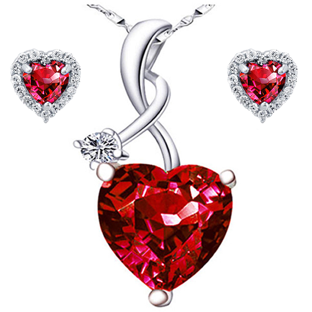 Devuggo 4.03 Carat TCW  Heart Cut Gemstone Created Ruby 925 Sterling Silver Necklace Pendant and Earrings 3 Pieces Jewelry Set