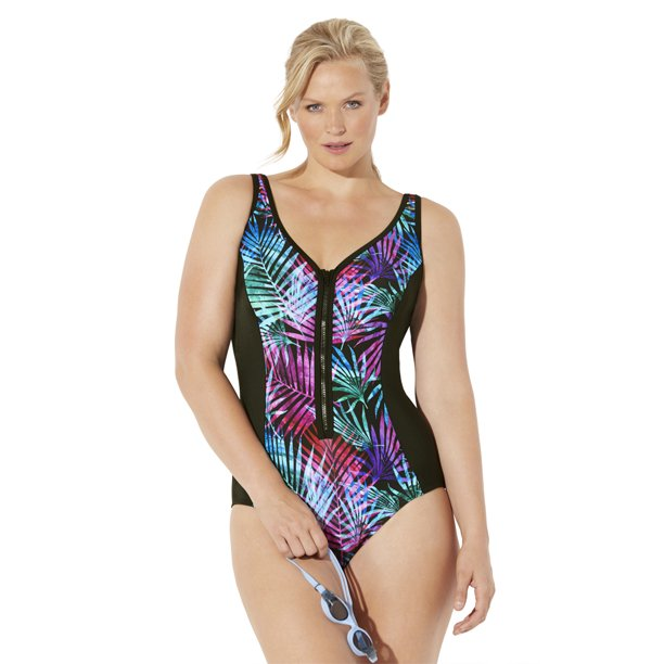 Swimsuits For All Women's Plus Size Chlorine Resistant Lycra Xtra Life Sweetheart Zip Front One Piece Swimsuit