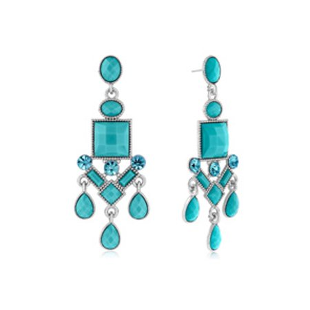 Passiana Chandelier Crystal Earrings Turq