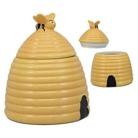 Ebros Rustic Wildlife Busy Honey Bumblebee Bee Hive Beehive Ceramic Cookie Jar 8