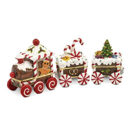 Bejeweled Trinket Box - Bejeweled Pewter Candy Cane Train Trinket Box