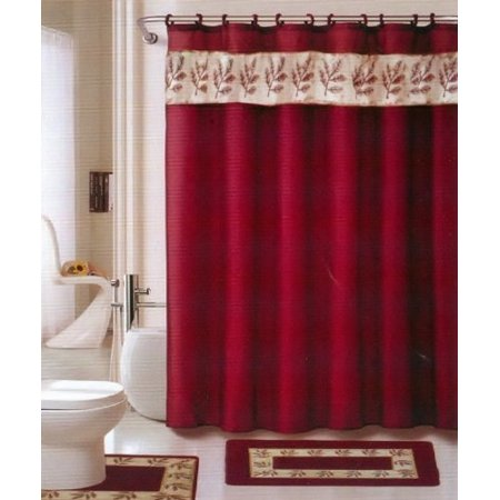 Oakland Burgundy Gold 18 Piece Bathroom Set 2 Rugs Mats 1 Fabric Shower Curtain 12 Covered Rings 3 Pc Decorative Towel