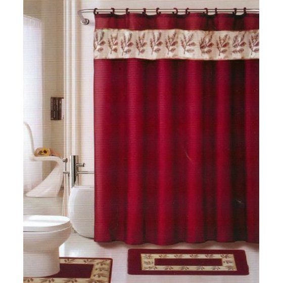 oakland burgundy gold 18 piece bathroom set 2 rugs mats 1 fabric shower curtain 12 fabric. Black Bedroom Furniture Sets. Home Design Ideas