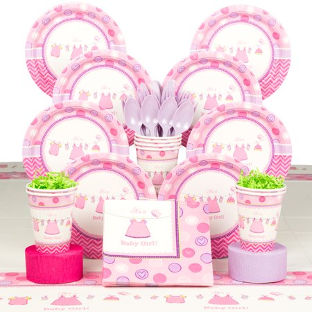 Shower With Love Girl Baby Shower Deluxe Tableware Kit (Serves 8) - Baby Shower Party - Girl Baby Shower Tableware