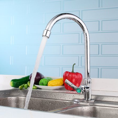 - Simple Chrome Kitchen Faucet Basin Sink Tap Single Lever Only For Cold Water