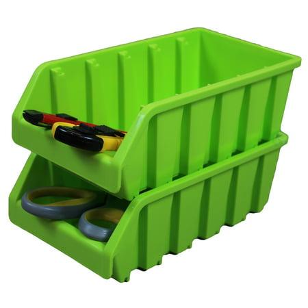 Set of 2 Plastic Storage Stacking Bins, -