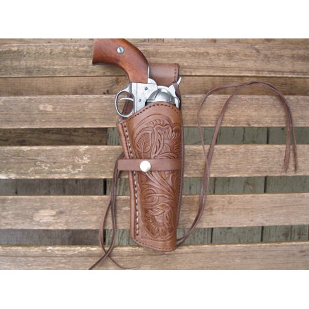 Western Gun Holster - 45 Cal. - Brown - Right Hand - Single Action Revolver - Size 6