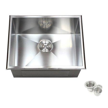 Contempo Living Inc 23-inch Stainless Steel Single Bowl Topmount Drop-in Zero Radius Kitchen Laundry Utility Sink 16