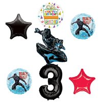 Black Panther 3rd Birthday Balloon Bouquet Decorations and Party Supplies