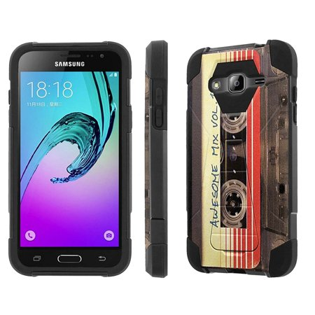 Samsung Galaxy J3 Case, [NakedShield] [Black/Black] Armor Tough Shock Proof Kickstand