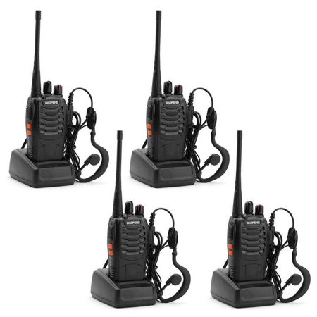 4Pcs Baofeng BF-888S 5W 400-470MHz 16CH Handheld Walkie Talkies + Free Headset