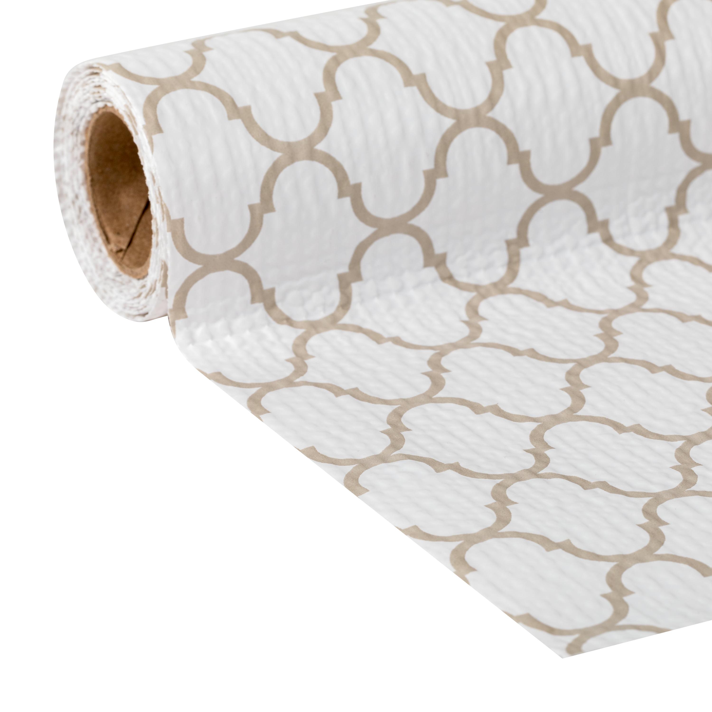Smooth Top Easy Liner Brand Shelf Liner, Taupe Quatrefoil, 20 in. x 6 ft.
