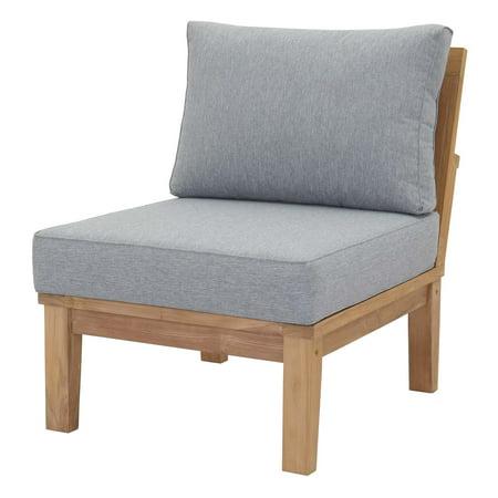 Modern Contemporary Urban Design Outdoor Patio Balcony Garden Furniture Sofa Middle Chair, Wood, Grey Gray Natural
