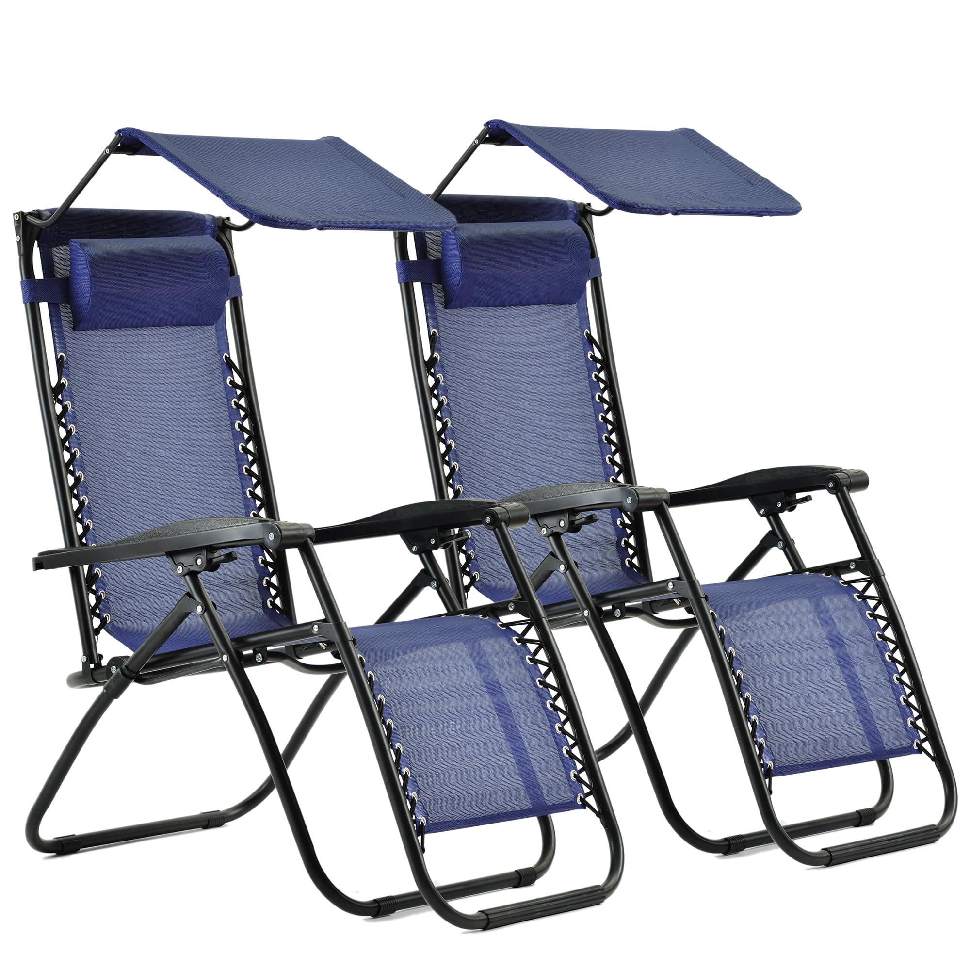 2 Pcs Zero Gravity Chair Lightweight Patio Chaise Lounge