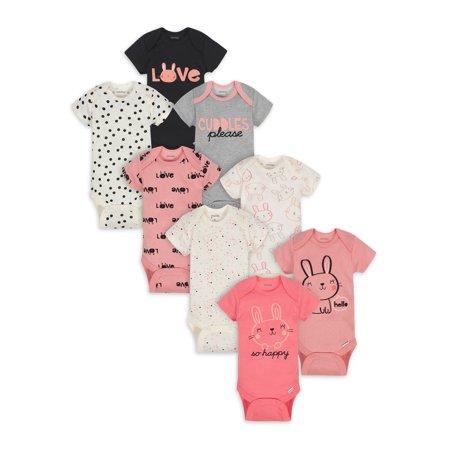 Onesies Brand Baby Girl Short Sleeve Bodysuits, 8-Pack