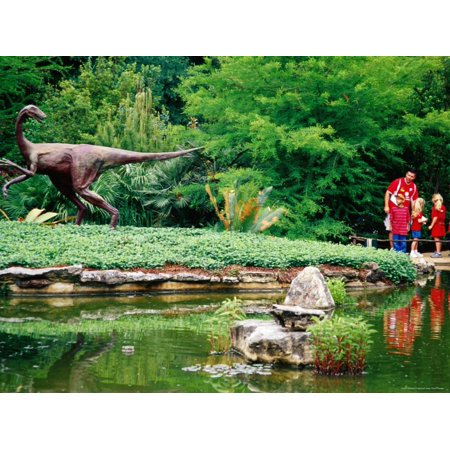 Children and Adult Standing near Ornithomimus Dinosaur Sculpture, Austin, Texas Print Wall Art By Richard Cummins ()