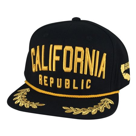 N21 Series California Republic Captain Snapback Hat Cap by CapRobot - Black  Gold - Walmart.com 29aacc024e5