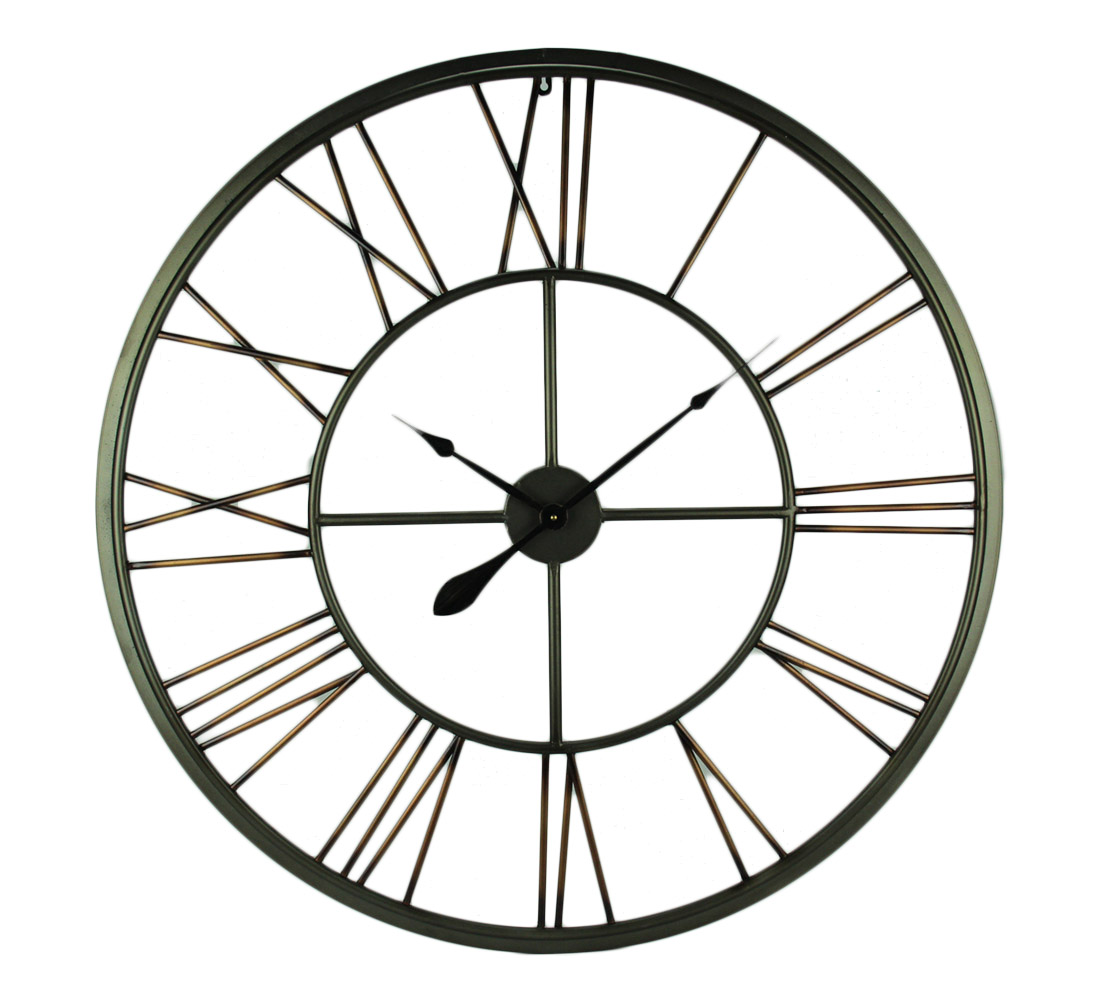 Two-Tone Metallic Finish Open Dial Compass Wall Clock