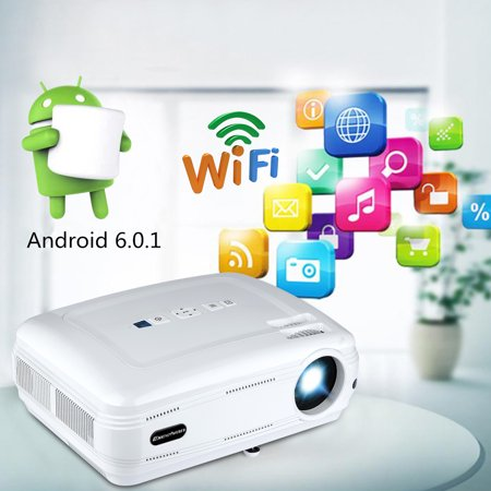 Excelvan Mini Portable Bl-59 Wifi Bluetooth 3200Lumen 200Inch Multimedia Projector Support Red&Blue 3D 1080P 1G+8G Atv For Home Theater Game Outdoor Movie Audio System Dvd Mini Systems