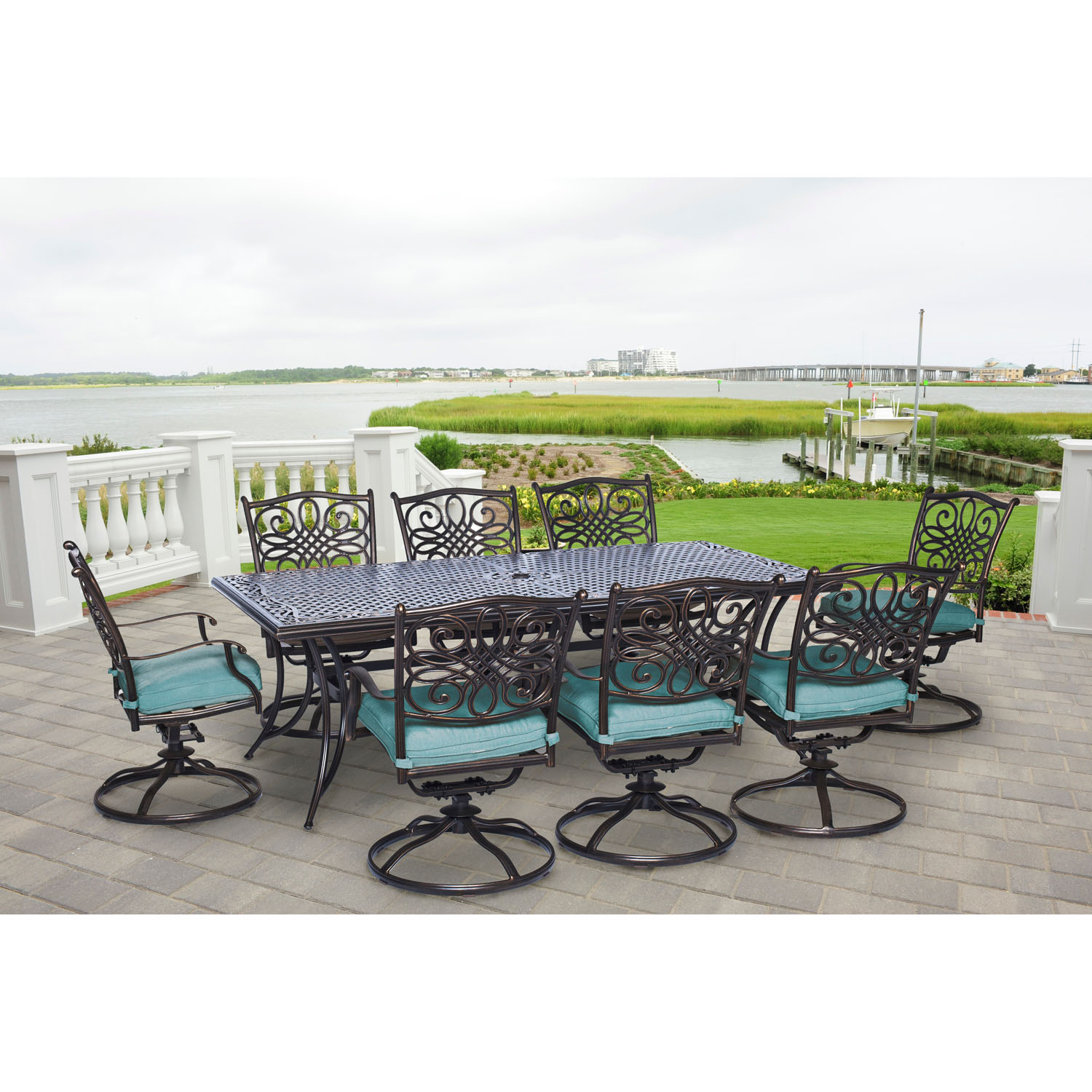Hanover Traditions 9-Piece Cast-Top Outdoor Dining Set with 8 Swivel Rockers