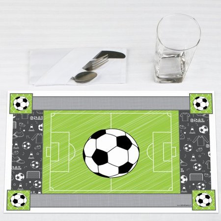 GOAAAL! - Soccer - Party Table Decorations - Baby Shower or Birthday Party Placemats - Set of 12