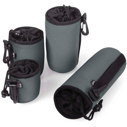 Bundle Monster 4pc Gray Padded Neoprene Compact Camera Lens Protector Pouch Bag