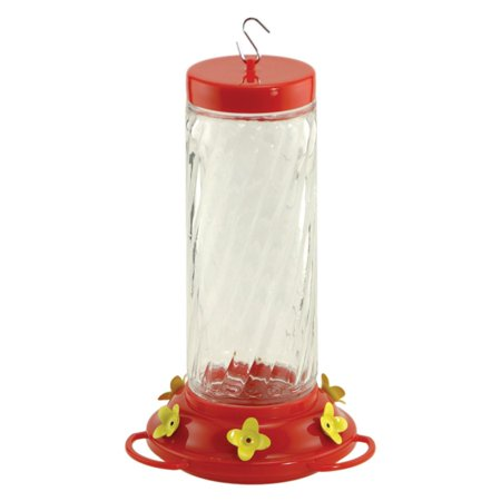 Image of Audubon NA35227 30 oz Red and Clear Glass Swirl Hummingbird Feeder