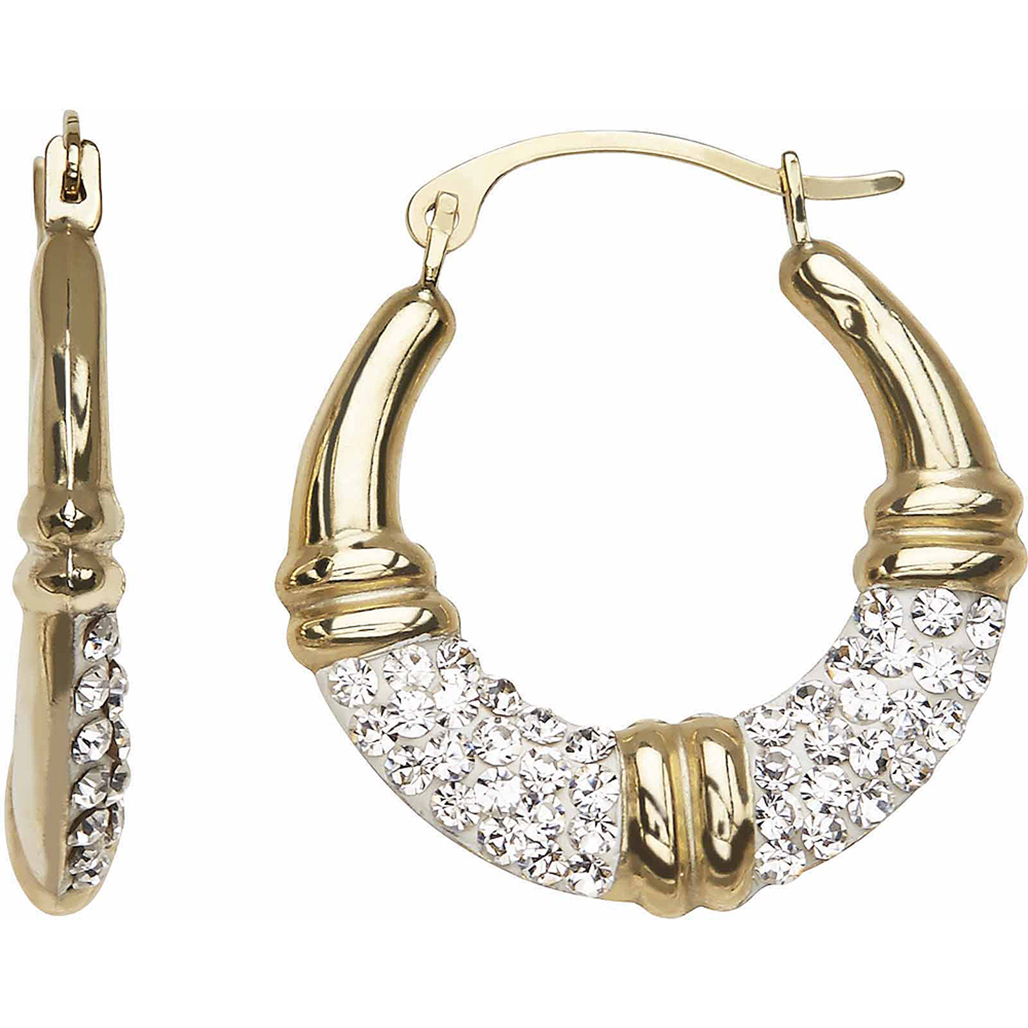 Simply Gold 10kt Yellow Gold Medium Ribbed with Crystal Round Hoop Earrings