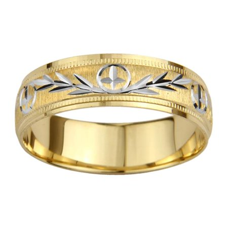 Precious Stars Jewelry 14k Two-Tone Mens 6-mm Mountain Edge Design Easy Fit Wedding Band ()