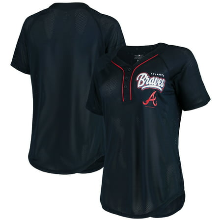 Women's New Era Navy Atlanta Braves Henley Mesh Jersey T-Shirt