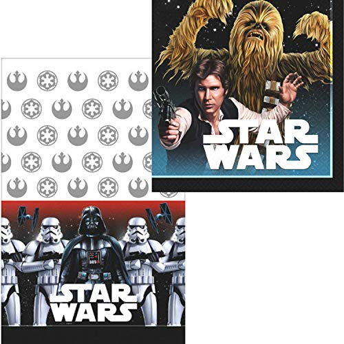 Cups ParteePak Star Wars Classic Birthday Party Bundle 50 Pieces Table Cover and Party Planning eBook Includes Plates Basic Napkins Disposable Tableware Supplies Pack for 16 Guests