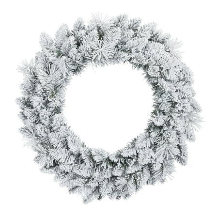 Holiday Time Winter Frost Flocked Un-Lit Wreath, 24