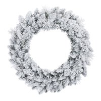 Holiday Time Winter Frost Flocked Un-Lit Wreath, 24""