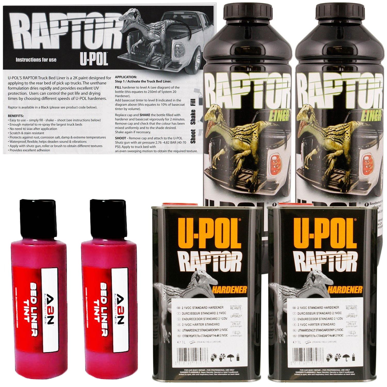 U-POL Raptor Tintable Blood Red Bed Liner & Texture Coating, 2L Upol