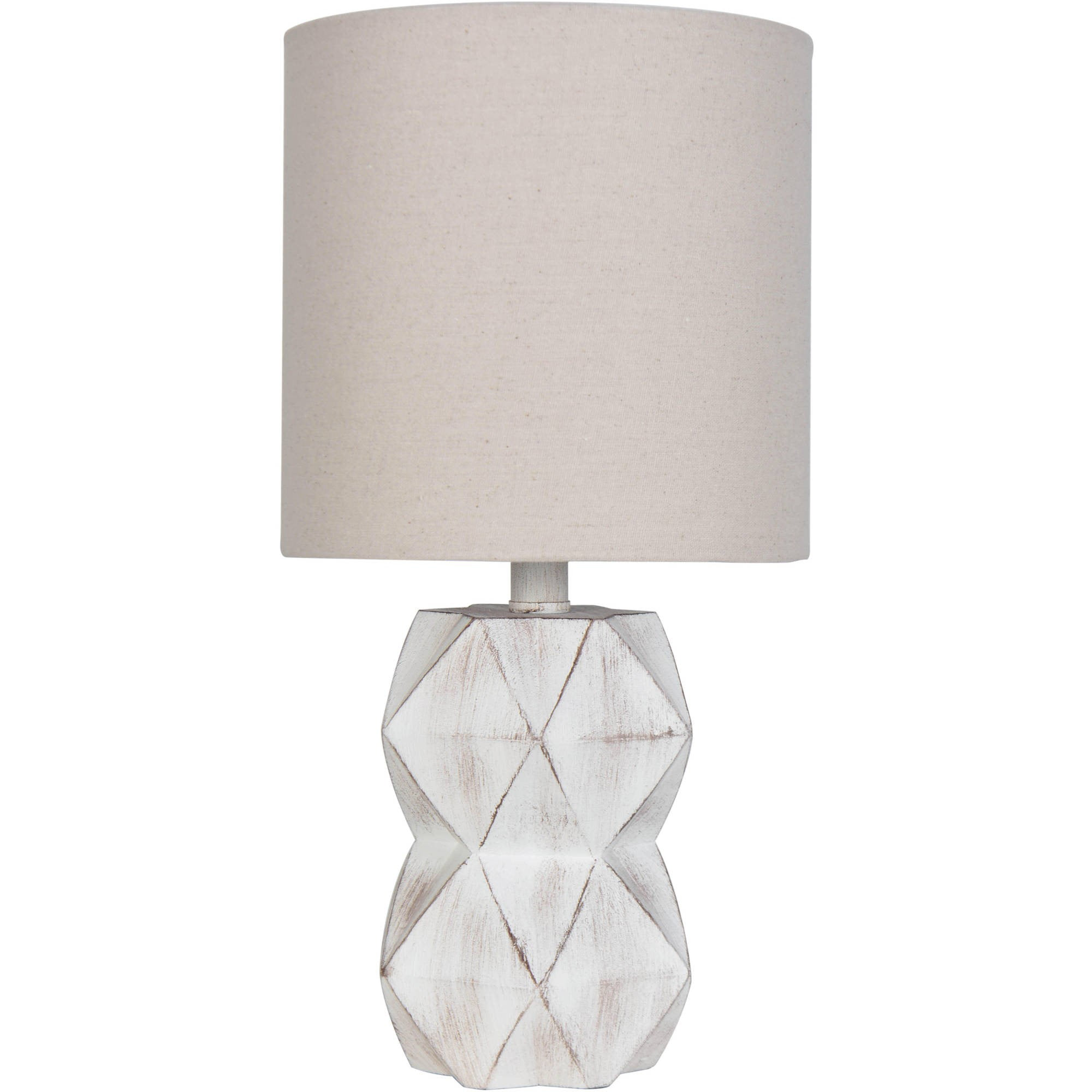 Click here to buy Better Homes and Gardens White Wash Faceted Faux Wood Table Lamp by Mastercraft Distribution USA Inc.