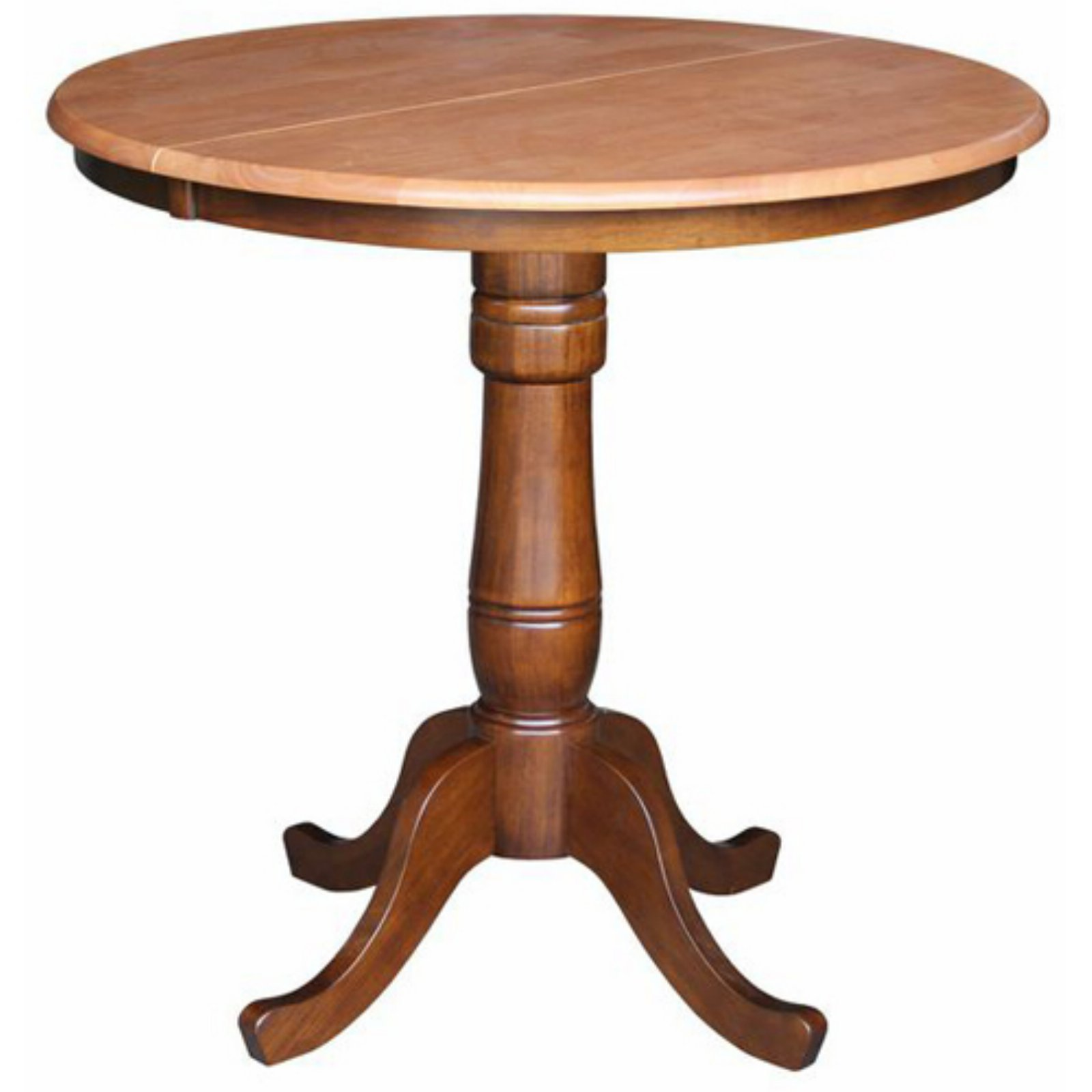 """36"""" Round Top Pedestal Table with 12"""" Leaf, 34.9""""H"""