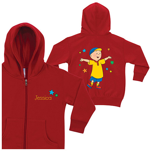 Personalized Caillou and Stars Red Zip-Up Toddler Boy Hoodie