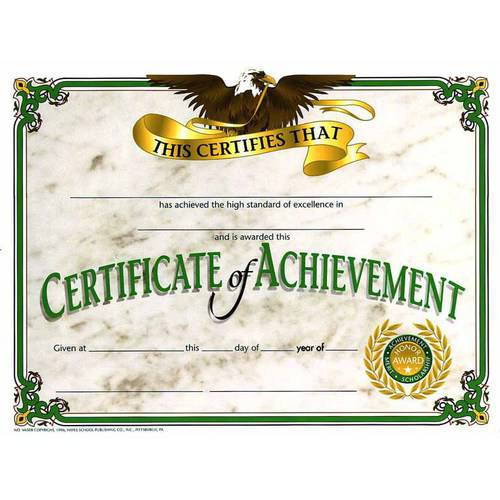 """Hayes Achievement Certificate, 8.5"""" x 11"""", Pack of 30"""