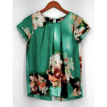 Sleeve Overlay (Kate & Mallory Top Sz XS Short Sleeve Overlay Bls w/ Round Neck Green)