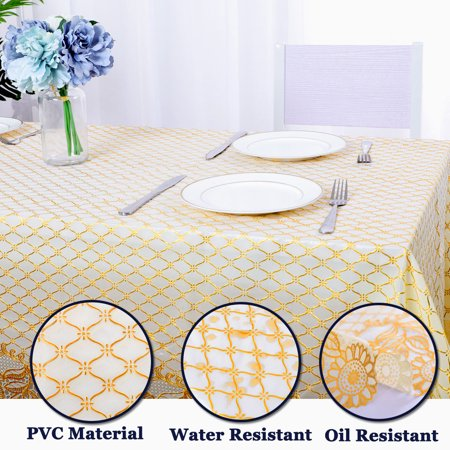 """Tablecloth PVC Vinyl Oil Stain Resistant Wedding Camping Table Cloth 54""""x79"""", #2 - image 7 de 7"""